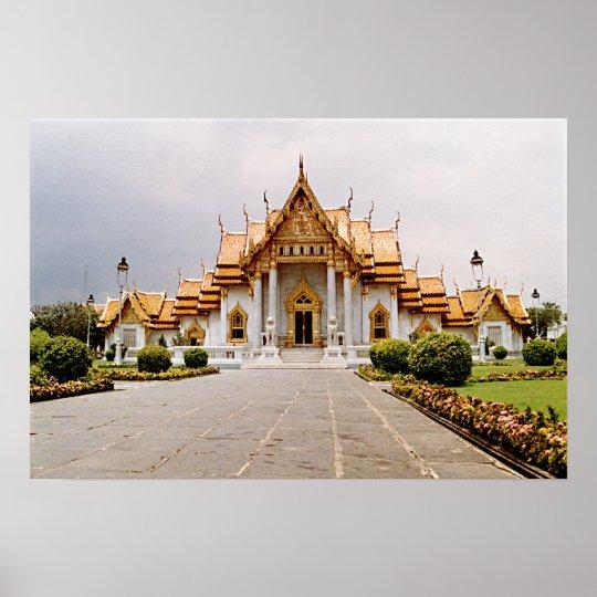 Templo de mármore do ouro sobre o poster do leão pôster