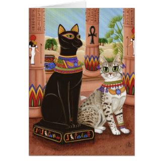 Templo do cartão da arte do gato da deusa da fibra