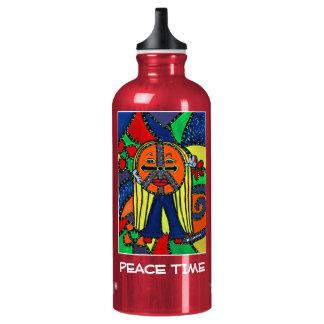 Tempo de paz - vermelho - partes do tempo garrafa d'água de alumínio