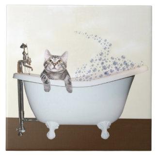 Tempo do banho do gatinho azulejo de cerâmica