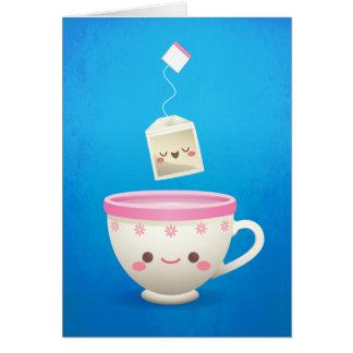 Tempo do chá de Kawaii Cartão De Nota
