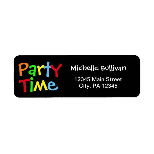 Tempo do partido etiqueta endereço de retorno