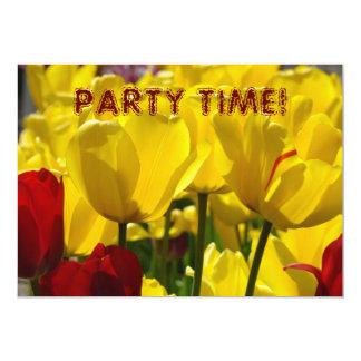 TEMPO DO PARTIDO! flores amarelas da tulipa dos Convite Personalizado