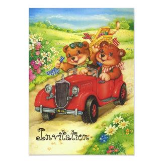 Tempo do piquenique para ursos de ursinho! convite 12.7 x 17.78cm