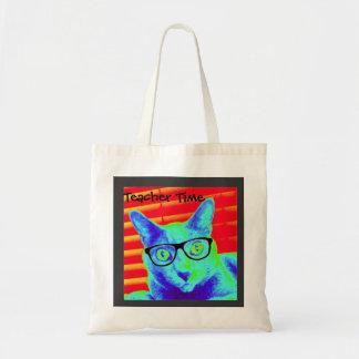 Tempo do professor dos vidros do gato da sacola bolsa para compras