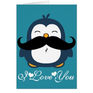 Tendência do bigode do pinguim eu te amo cartão comemorativo