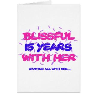 Tendendo o 15o design do aniversário do casamento cartão