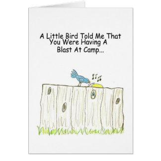 Tendo uma explosão no cartão do acampamento
