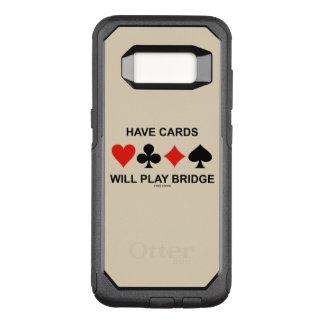 Tenha cartões jogará ternos do cartão da ponte capa OtterBox commuter para samsung galaxy s8