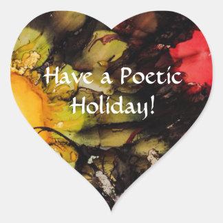 Tenha um feriado poético - etiqueta do coração