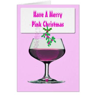Tenha um Natal cor-de-rosa alegre - cartão do Xmas