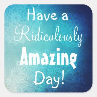 Tenha uma etiqueta azul da mandala do bom dia