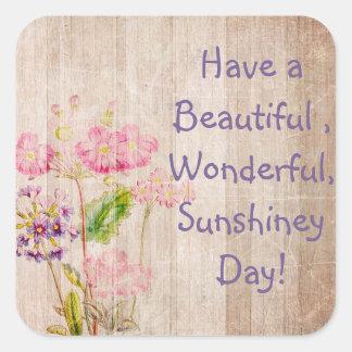 Tenha uma etiqueta rústica floral do dia bonito