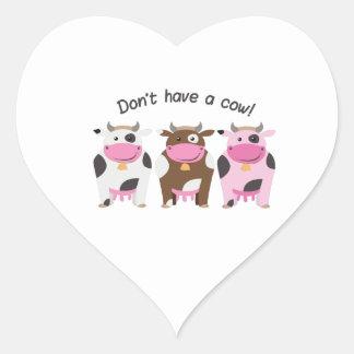 Tenha uma vaca adesivos em forma de corações