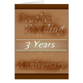 Terceiro couro do ~ do aniversário de casamento cartão comemorativo
