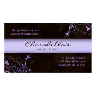 Termas - cartão de visita roxo elegante da flor do