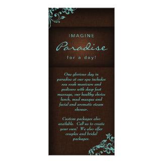 Termas de linho florais Brown azul do salão de bel Panfleto Informativo Personalizado