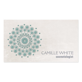 Termas elegantes da textura do marfim do círculo cartão de visita
