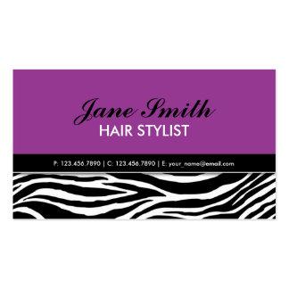 Termas elegantes modernos roxos do cabeleireiro do cartão de visita