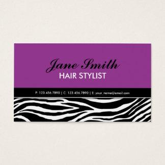 Termas elegantes modernos roxos do cabeleireiro do cartão de visitas