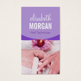 TERMAS florais roxos à moda do Manicure do salão Cartão De Visitas