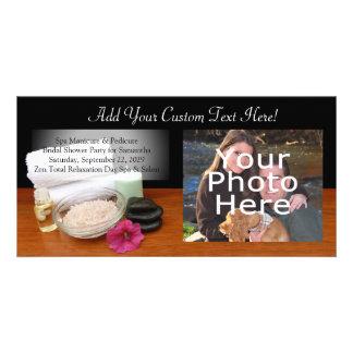 Termas preto cor da cena salão de beleza da massag cartão com foto personalizado