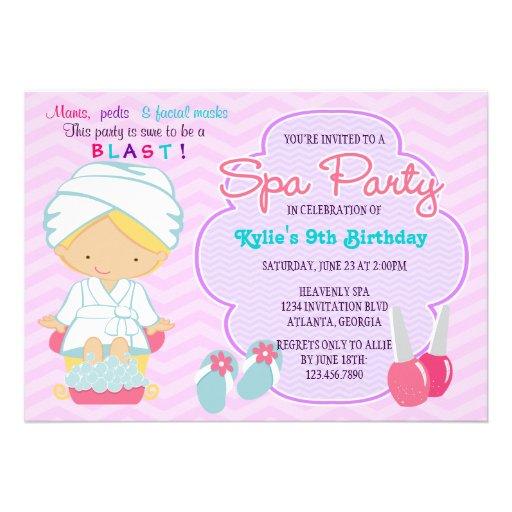 Termas roxos cor-de-rosa adoráveis que Pampering a Convite Personalizados