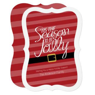 Terno alegre de Papai Noel do Natal - Não-foto Convite 12.7 X 17.78cm