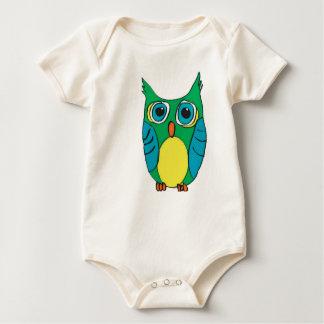 Terno do bebê da coruja dos desenhos animados macacãozinho para bebê