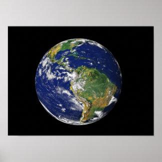 Terra completa que mostra Ámérica do Sul Pôsteres