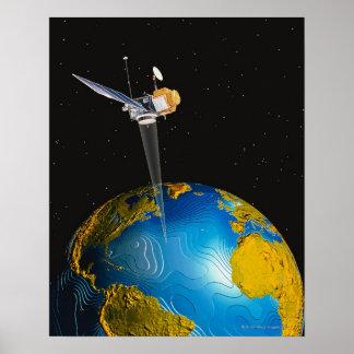 Terra de órbita satélite 6 pôster