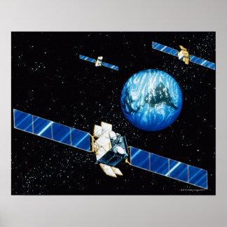 Terra de órbita satélite poster