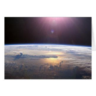 Terra do planeta do espaço cartão