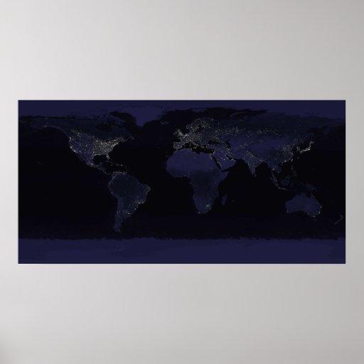 Terra em a noite impressão