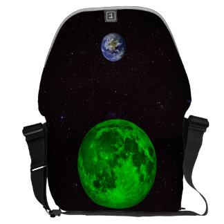 Terra esmeralda da lua e do planeta bolsas mensageiro