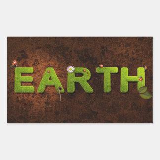 Terra, etiqueta ambiental adesivo retangular