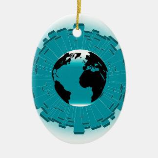 Terra urbana do planeta ornamento de cerâmica