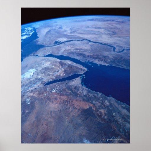 Terra vista de um satélite impressão