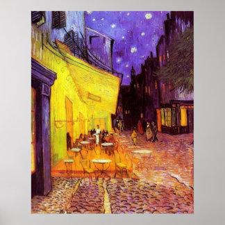 Terraço do café na noite pelo poster de Vincent