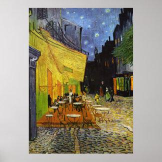 Terraço do café no poster de Van Gogh da noite Pôster