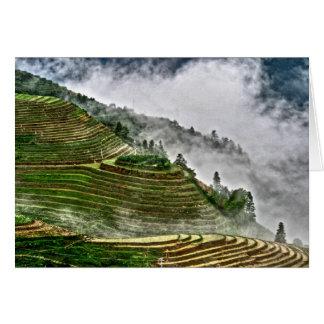 Terraços do arroz de Longheng Cartão De Nota
