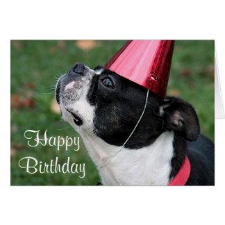 Terrier de Boston com um desejo do aniversário Cartão Comemorativo