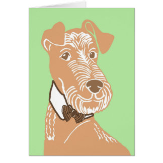 Terrier irlandês que veste um cartão de Bowtie