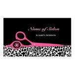 Tesouras cor-de-rosa e pretas na moda do cabeleire cartoes de visita