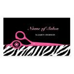 Tesouras cor-de-rosa e pretas na moda do cabeleire cartões de visita