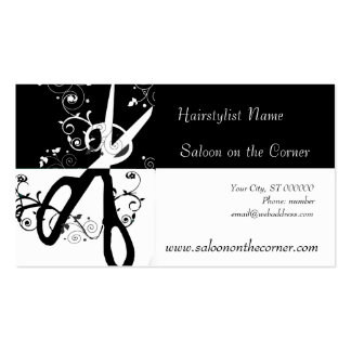 Tesouras preto e branco do salão de beleza modelo cartoes de visita