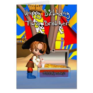 Tesouro do pirata do cartão de aniversário do irmã