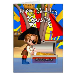 Tesouro do pirata do cartão de aniversário do prim