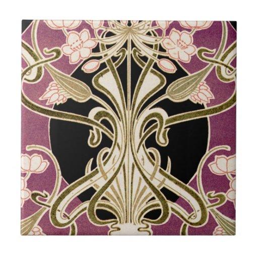 Teste padrão #2 de Nouveau da arte Azulejos De Cerâmica
