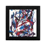 Teste padrão abstrato azul, vermelho, preto, porta treco